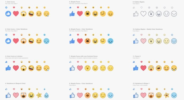 Here are the different stylistic variations of each Facebook Reactions emoji that they tried before settled on the final 6.  (Source: Facebook)