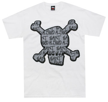 saint alfred x stussy skull t shirt