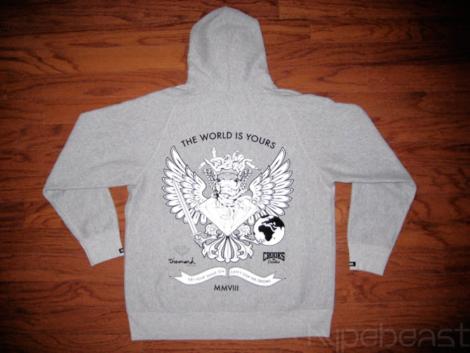 crooks castles x diamond supply co zip hoodie