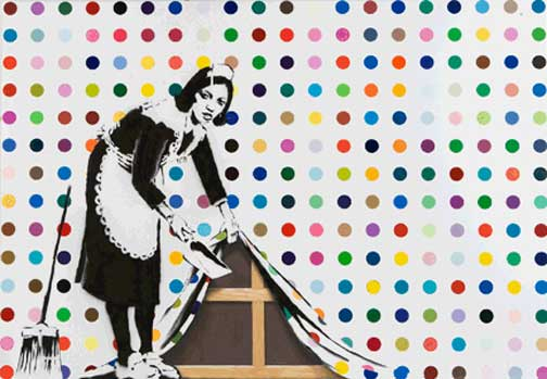 damien hirst x banksy painting auctioned 1 8 mil