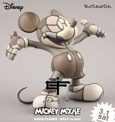 david flores x medicom toy mickey mouse gray figure