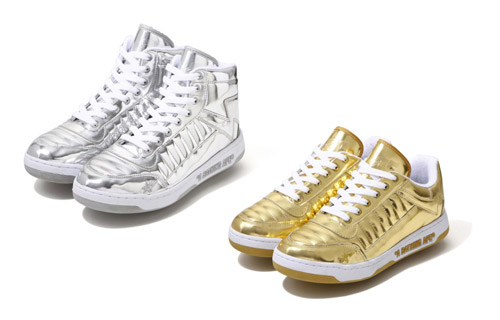 A Bathing Ape Metallic Gold & Silver Bapesta 88