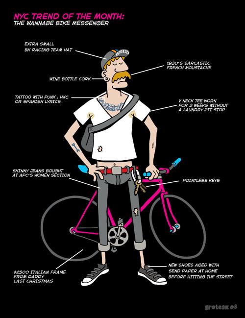 Grotesk's The Wannabe Bike Messenger Illustration