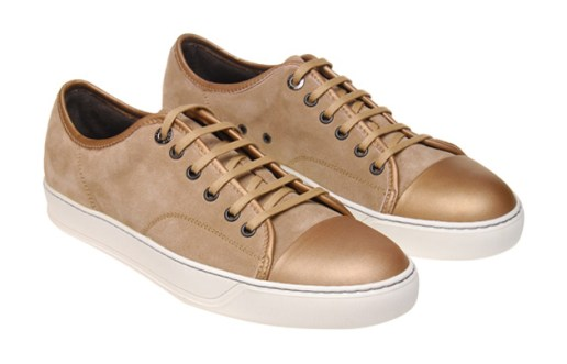 Lanvin Bronze Leather and Suede Trainers