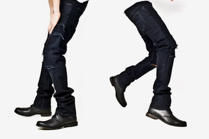 OAK Black Mid Slouch Trashed Denim Jeans