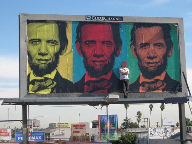 Ron English Inauguration Billboard in Los Angeles