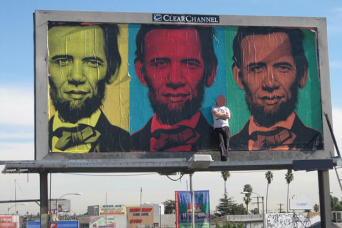 Ron English Inauguration Billboard in Los Angeles