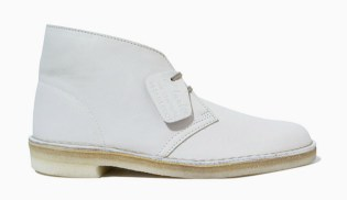 Clarks White Leather Desert Boots