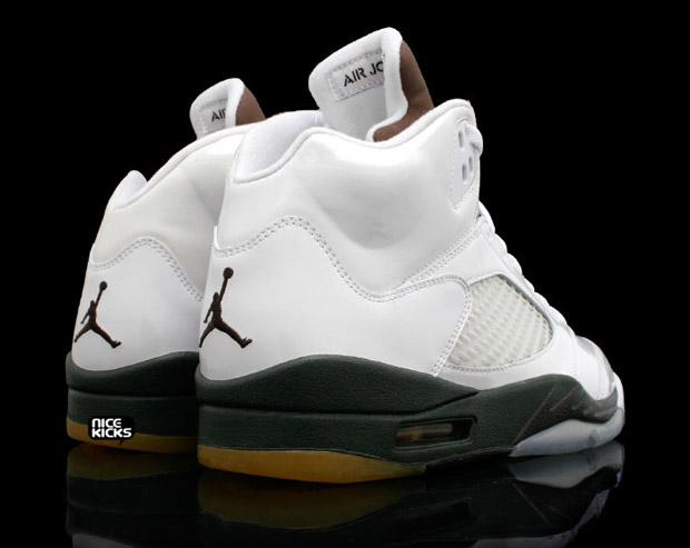 Air Jordan V White Patent/Dark Army