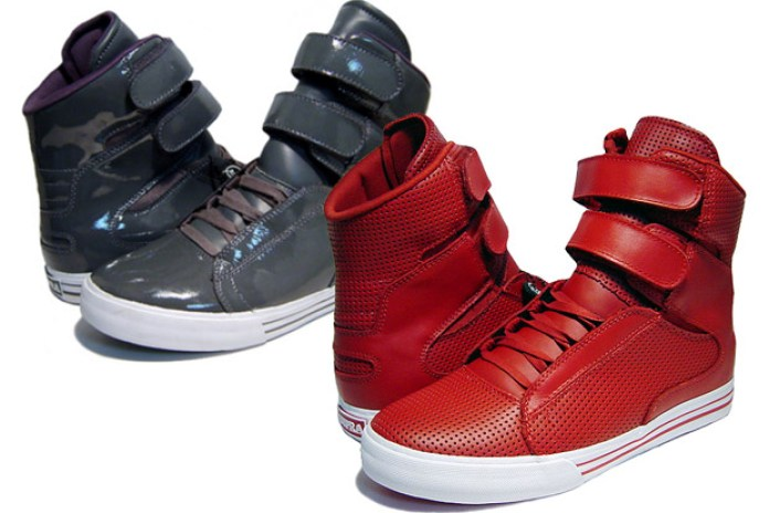Supra Society Grey Patent & Red Leather Colorways