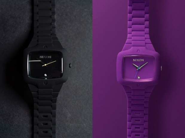 Nixon Black & Purple Rubber Player Watches