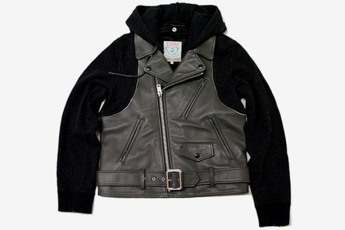 UNDERCOVER Leather Biker Sweater Jacket