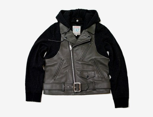 UNDERCOVER Leather Biker Sweater Jacket