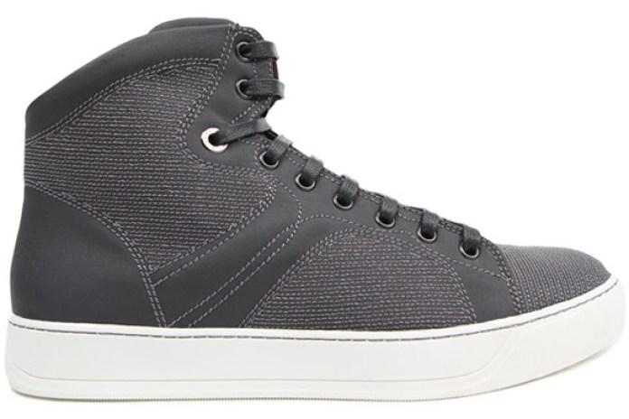 Lanvin Grey Canvas High Top Sneakers