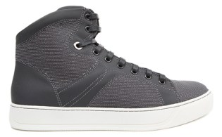 Lanvin Grey Canvas High Top Sneakers