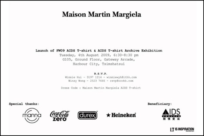 Maison Martin Margiela 2009 Fall/Winter T-shirt & AIDS T-shirt Exhibition Hong Kong