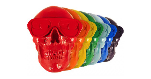 Gypsum Skull Multi-Color Sculpture Set by Michael Leon