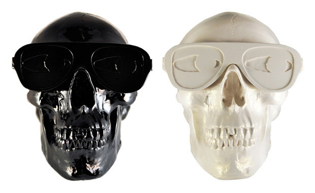 Gypsum Skull Sculpture by Michael Leon