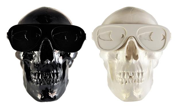 Gypsum Skull Sculpture by Michael Leon