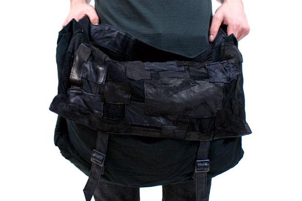 Diet Butcher Slim Skin Leather Patchwork Messenger Bag