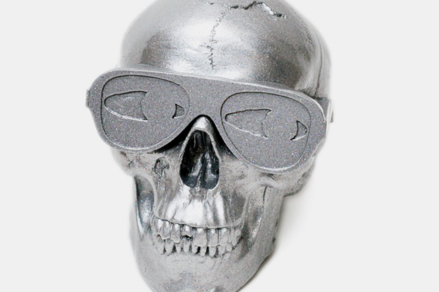 Gypsum Skull Sculpture by Michael Leon Metallic Silver Edition