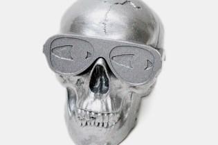 Gypsum Skull Sculpture by Michael Leon Metallic Silver Edition