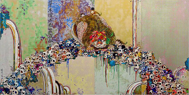 """Takashi Murakami """"A Picture Of The Blessed Lion Who Stares At Death"""" Painting"""