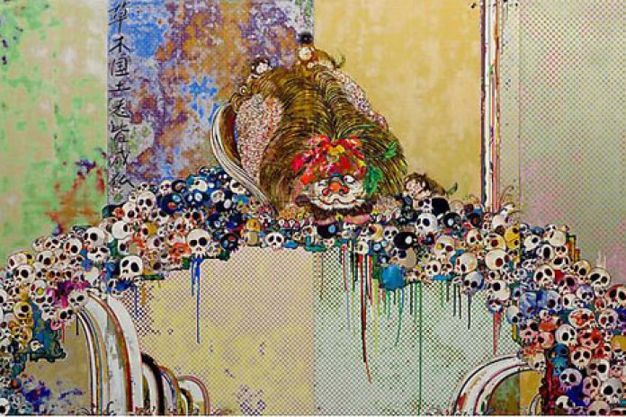 "Takashi Murakami ""A Picture Of The Blessed Lion Who Stares At Death"" Painting"