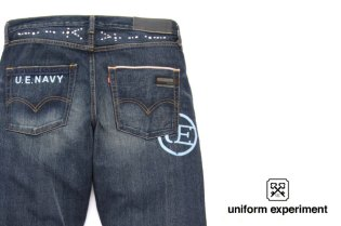 uniform experiment x Levi's Fenom U.E. NAVY DISCO Decoration 505 Denim