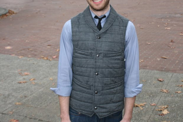 Wings + Horns Quilted Chambray Vest