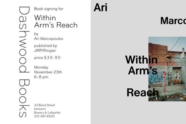 """Ari Marcopoulos """"Within Arm's Reach"""" Book Signing Event"""