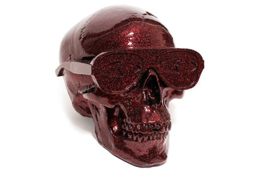 Gypsum Skull Sculpture by Michael Leon Metallic Red Edition