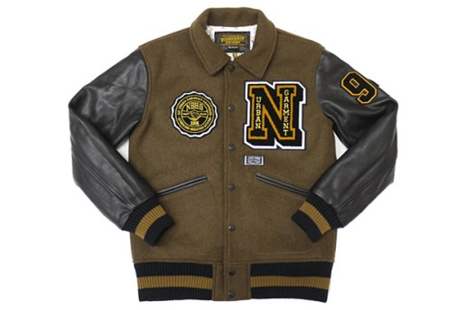 NEIGHBORHOOD W.D.W.Y.F.W Melton Wool Brown Stadium Jacket