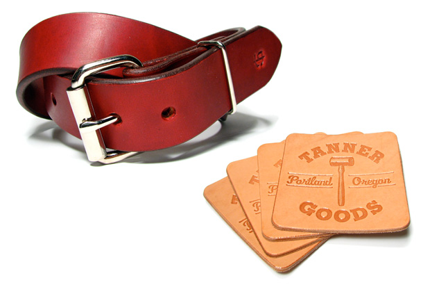 Tanner Mahogany Standard Belt & Beer Coaster Set