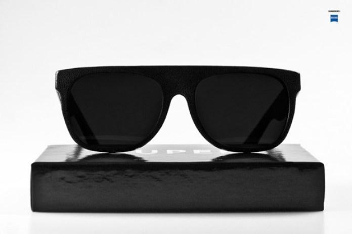 SUPER Flat Top Black Leather Sunglasses