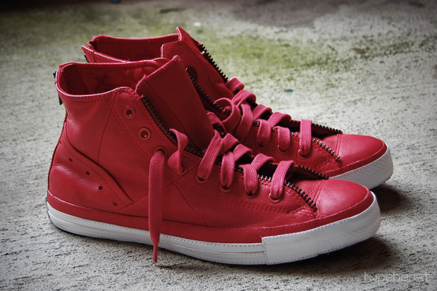 Converse (PRODUCT) RED Leather Jacket Chuck Taylor All-Star Sneakers