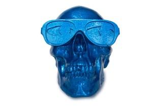 Gypsum Skull Sculpture by Michael Leon Metallic Blue Edition