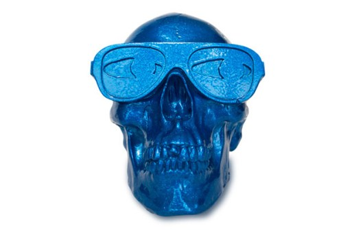 Gypsum Skull Sculpture by Michael Leon Metallic Blue Edition