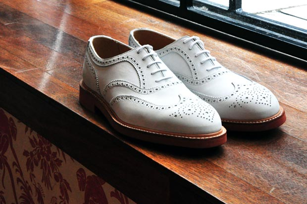 "Crockett & Jones for Mr. Start ""Suffolk"" White Suede Brogue"