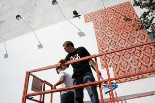 """Shepard Fairey """"These Parties Disgust Me"""" Mural for Deitch Projects"""