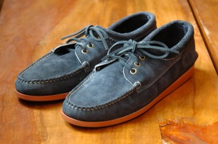 Quoddy Navy Suede Bluchers