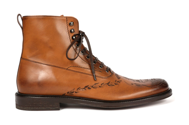 Alexander McQueen Engraved Leather Boots