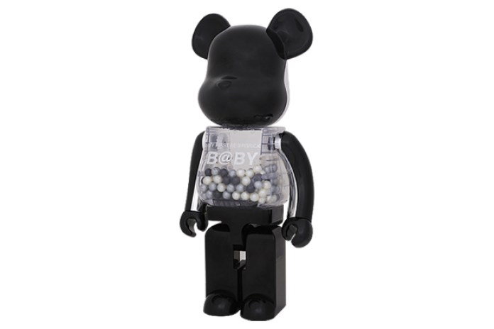 Chiaki x Medicom Toy My First Bearbrick Baby 1000% Black/Silver