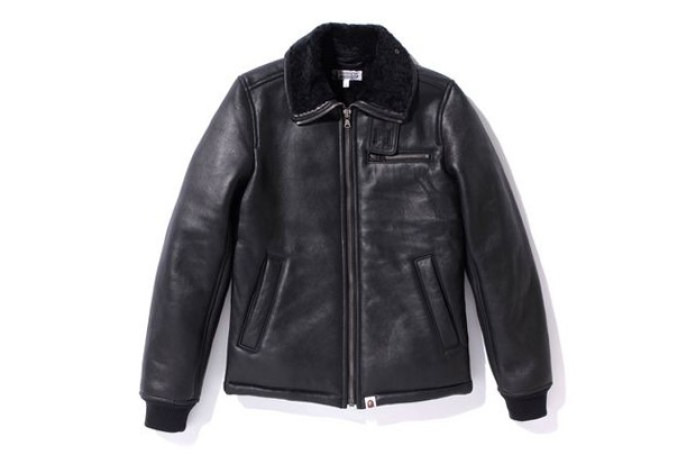 A Bathing Ape Sheepskin Leather Jacket