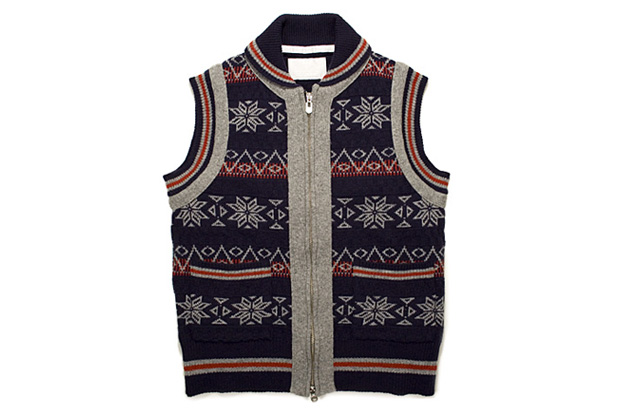 White Mountaineering Snow Pattern Jacquard Vest