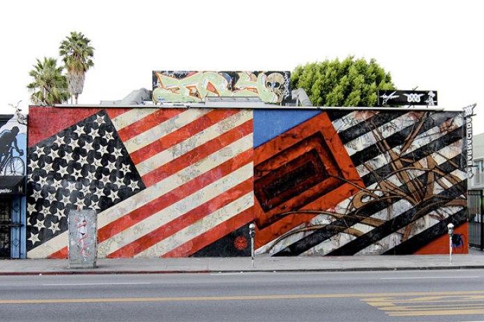 SABER x Shepard Fairey Flags Mural Los Angeles