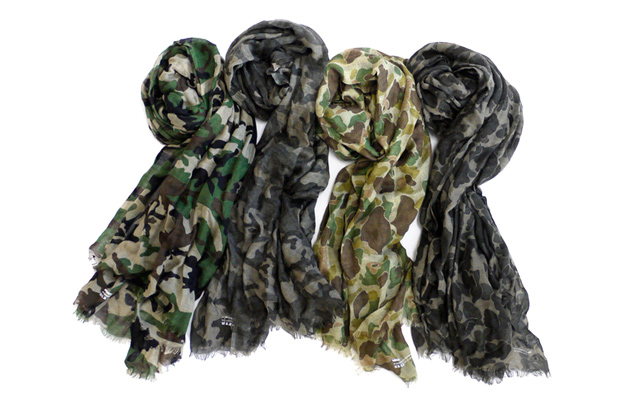 SOPHNET. CASHMERE SILK CAMOUFLAGE STOLE