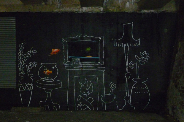 "Banksy ""Living Room"" Piece in London"