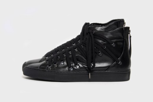 Raf Simons Lace-Up High-Top Leather Sneaker