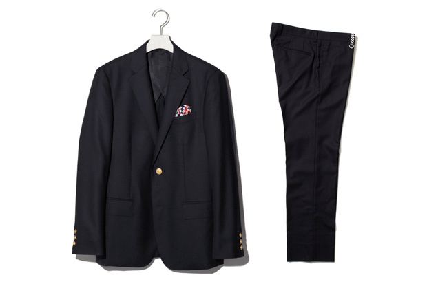 uniform experiment MAT WORSTED WOOL 2 BUTTON BLAZER / LOW WAIST SLACKS